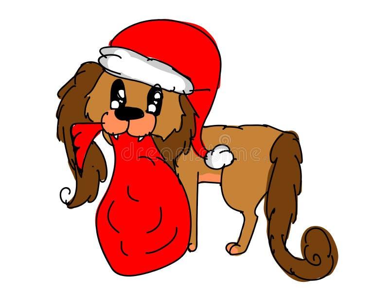 Cão do Natal que veste o chapéu vermelho de Santa Claus que guarda o saco vermelho de Santa ilustração do vetor
