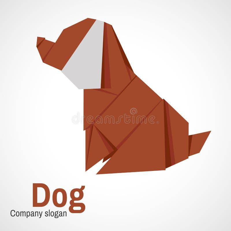 Cão do origâmi do logotipo ilustração stock
