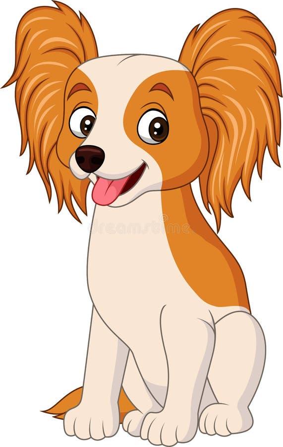 Cão do papillon dos desenhos animados isolado no fundo branco ilustração stock