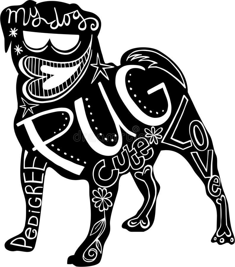 Cão do Pug do animal de estimação ilustração stock