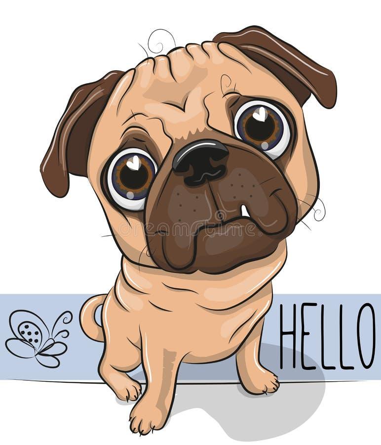 Cão do Pug dos desenhos animados isolado em um fundo branco ilustração stock