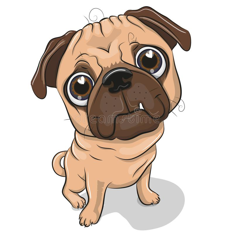 Cão do Pug dos desenhos animados isolado em um fundo branco ilustração do vetor