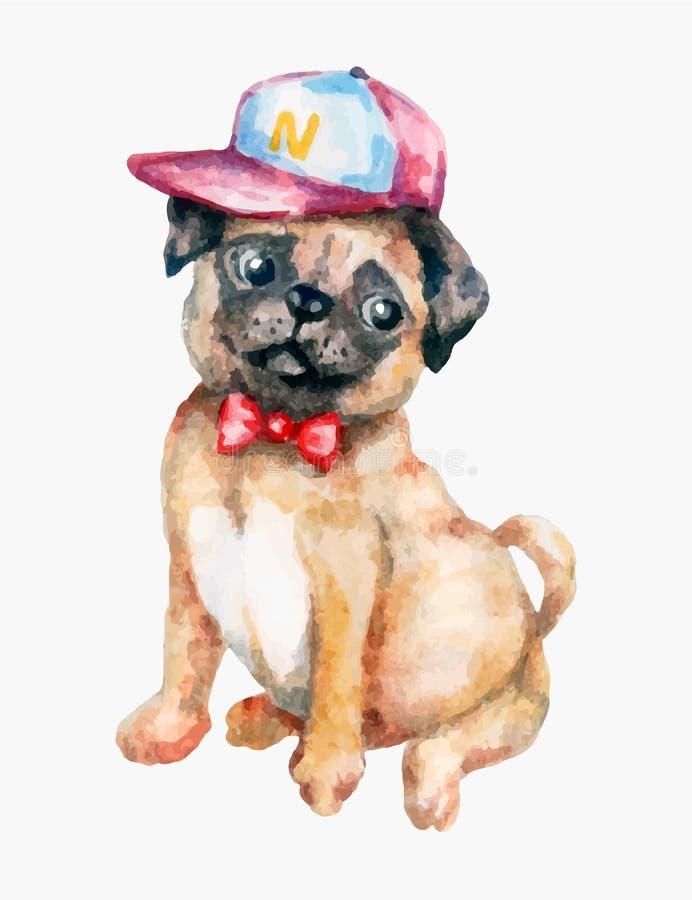 Cão do Pug em um estilo do moderno foto de stock