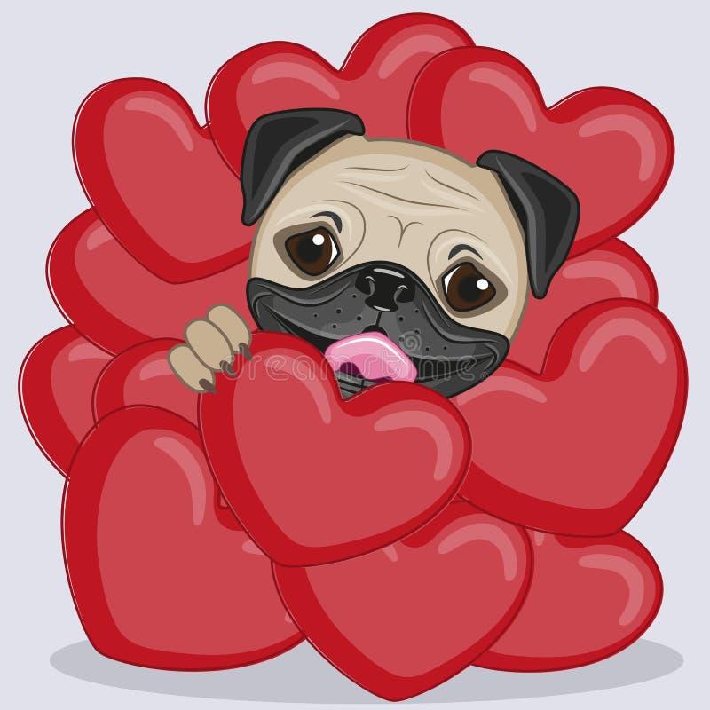 Cão do Pug nos corações ilustração stock