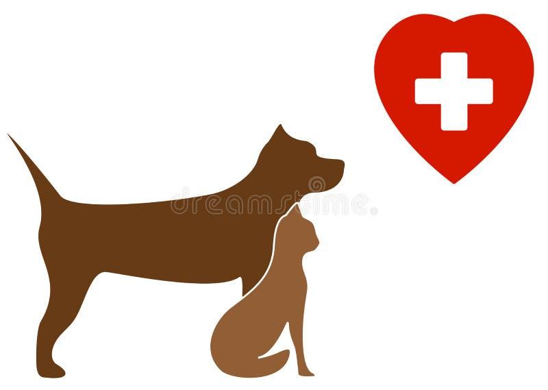 Cão do terrier de pitbull, gato e sinal veterinário ilustração do vetor