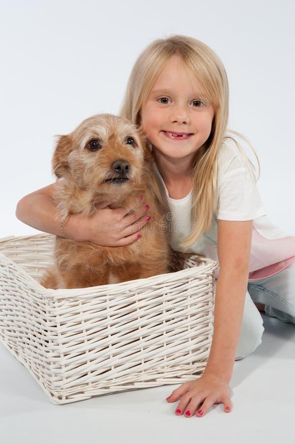 Cão do whit da criança imagens de stock royalty free
