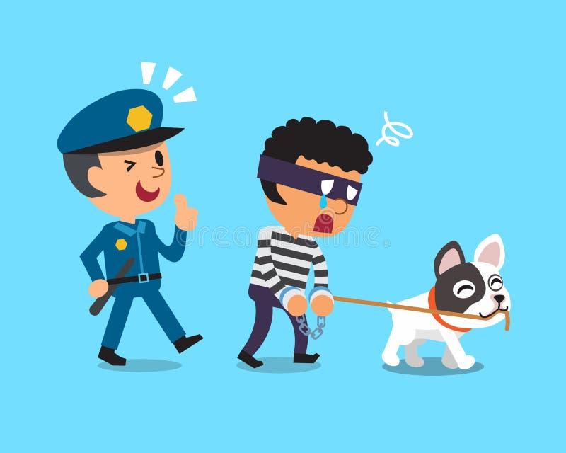 Cão dos desenhos animados e ladrão de travamento do polícia ilustração stock