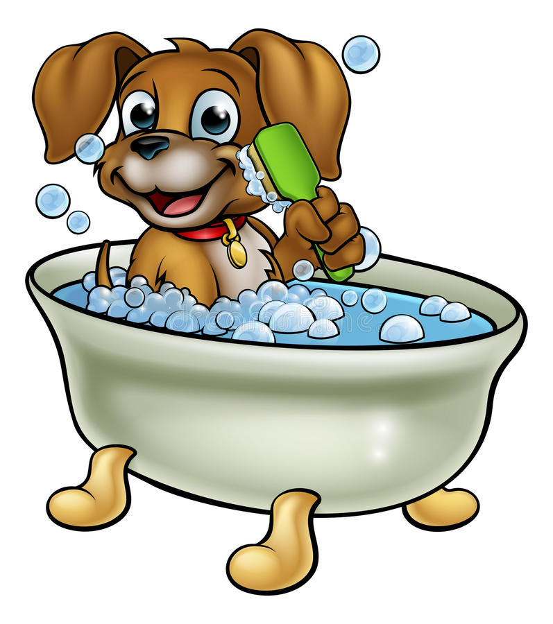Cão dos desenhos animados no banho ilustração do vetor