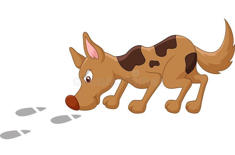 Cão dos desenhos animados que aspira a pegada ilustração stock