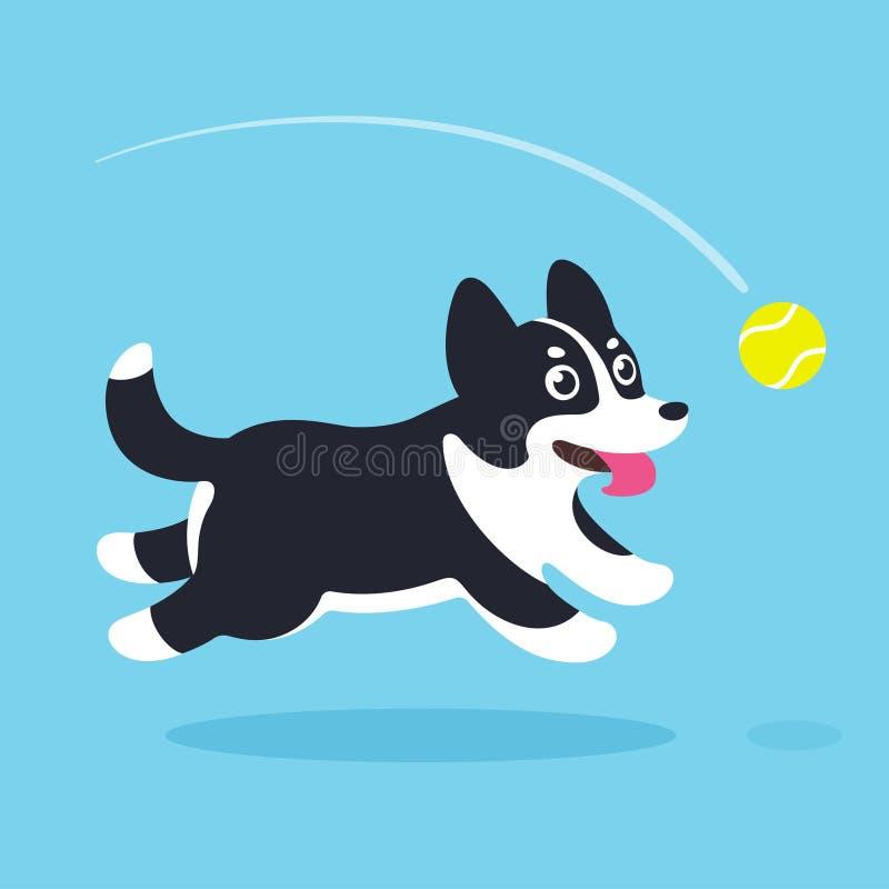 Cão dos desenhos animados que corre após a bola ilustração stock