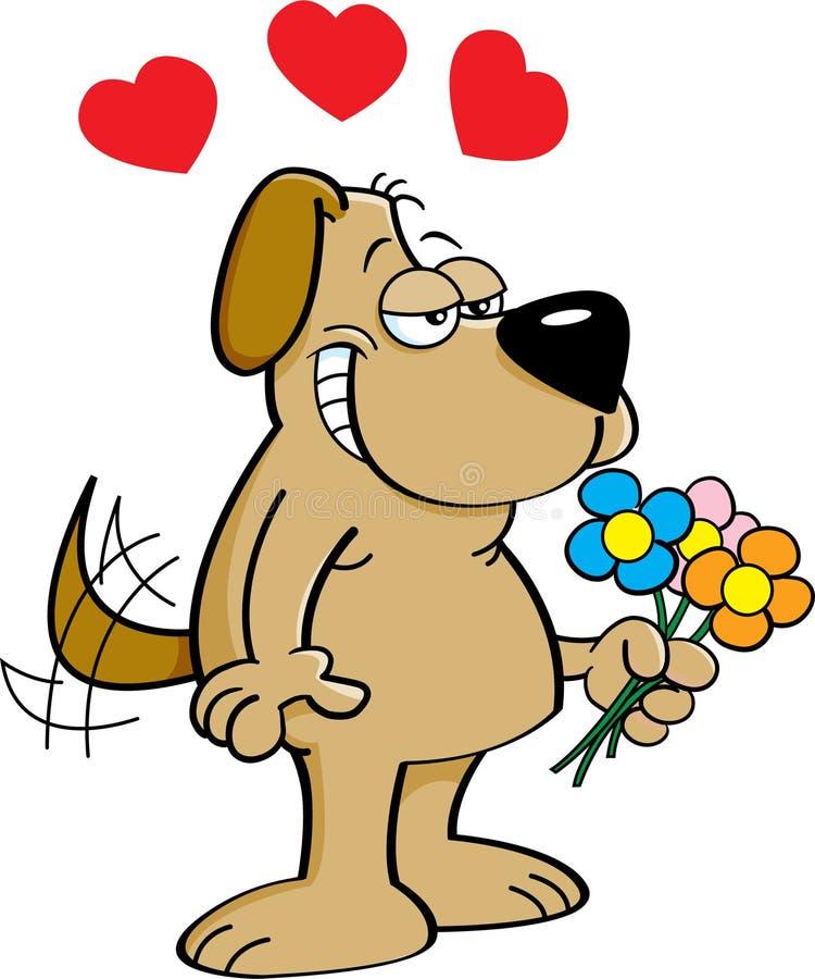 Cão dos desenhos animados que guarda flores ilustração royalty free