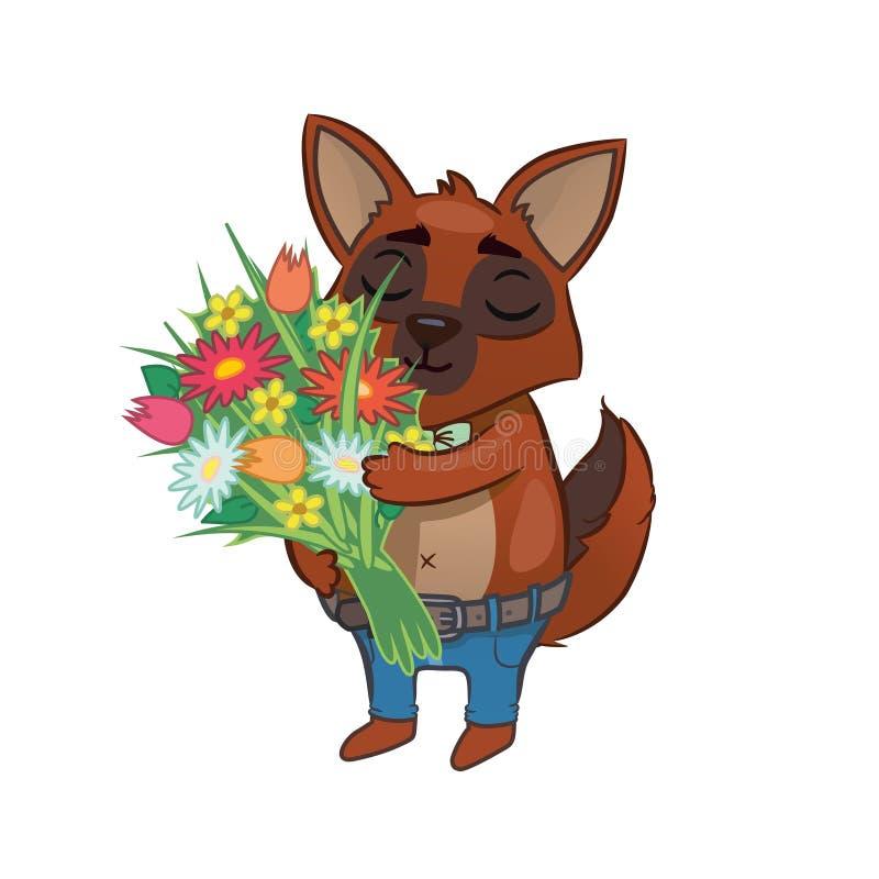 Cão dos desenhos animados que guarda flores Ilustração do cumprimento ilustração stock