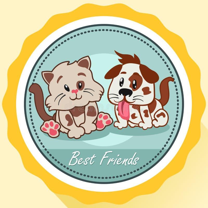 Cão e Cat Best Friends Poster ilustração royalty free