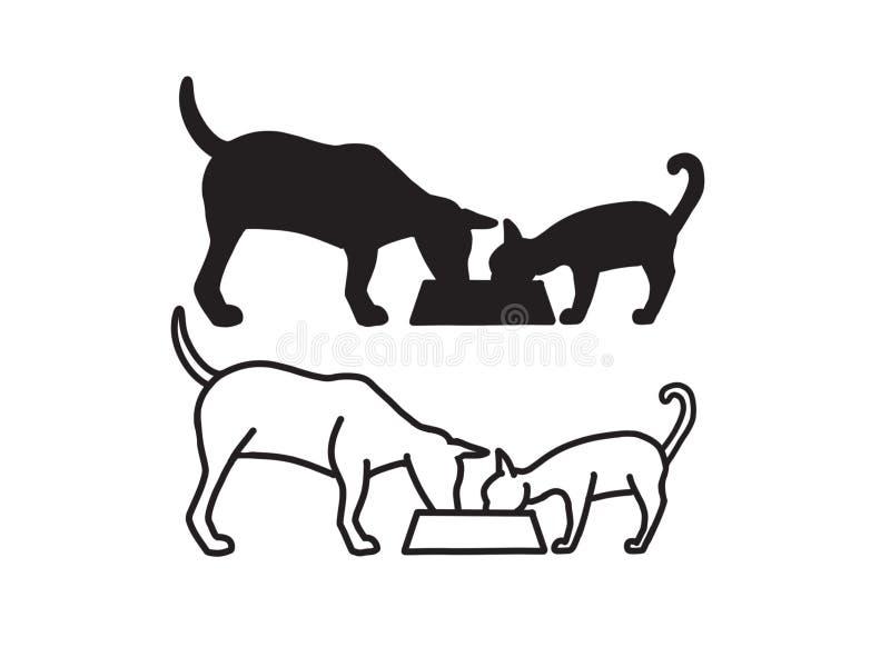 Cão e Cat Sharing Meal On Bowl Logo Design Illustration ilustração do vetor