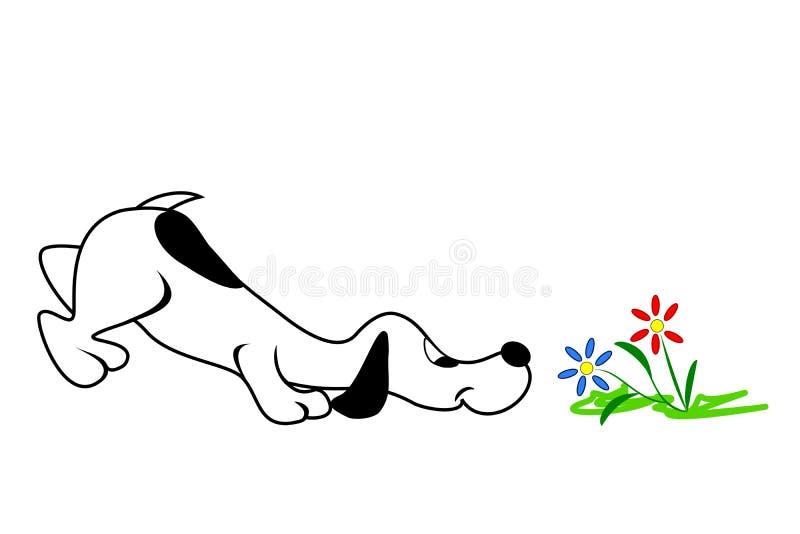 Cão e flores ilustração royalty free
