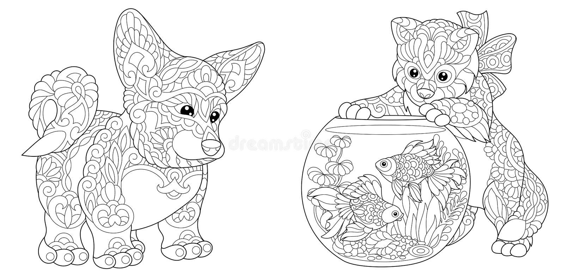 Cão e gatinho do corgi de Zentangle ilustração stock