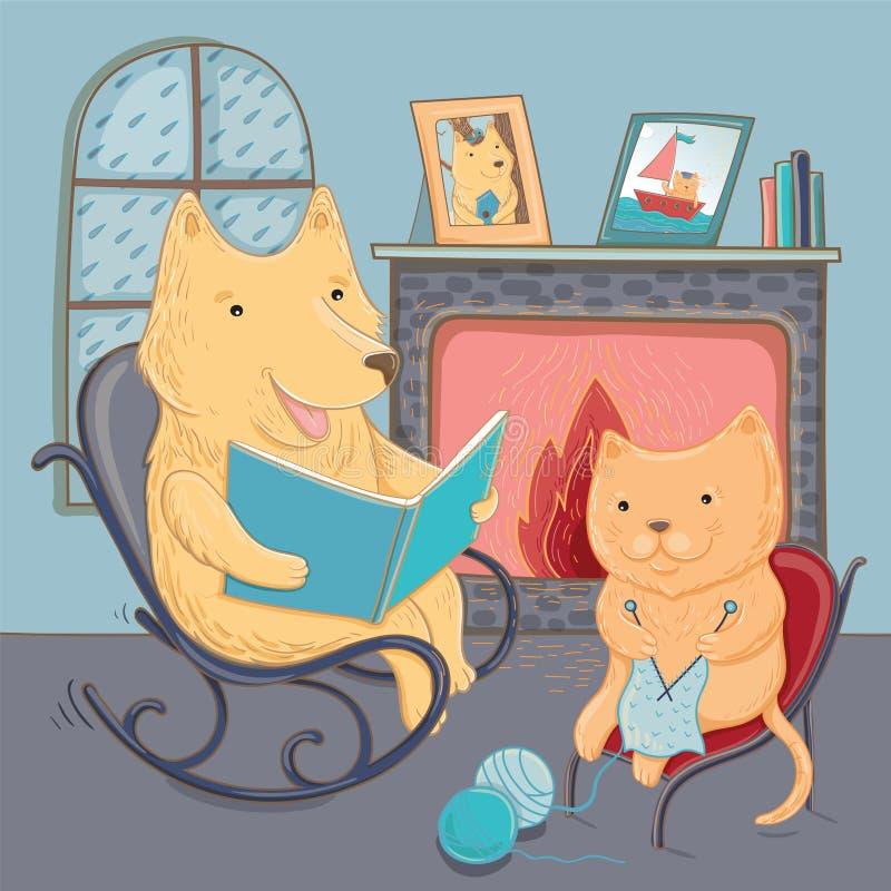 Cão e gato bonito da ilustração do vetor, cosiness do outono ilustração royalty free