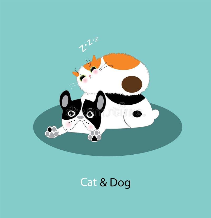 Cão e gato engraçado ilustração do vetor