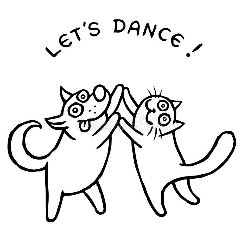 Cão e gato que dança junto Ilustração do vetor ilustração royalty free