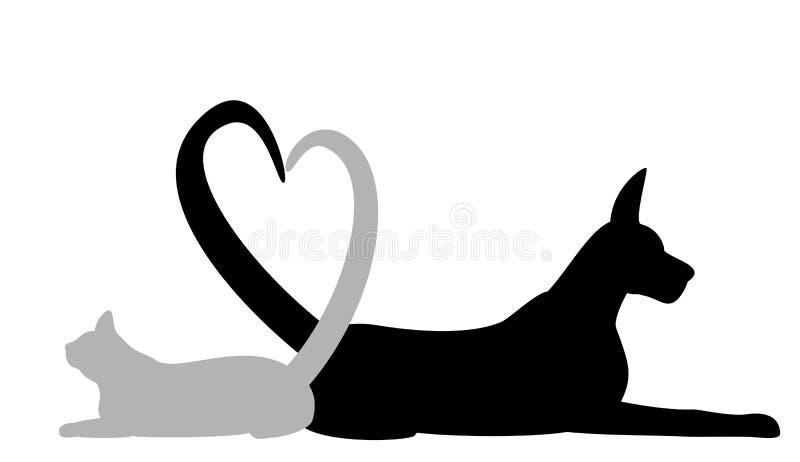 Cão e gato que faz o coração com cauda ilustração stock