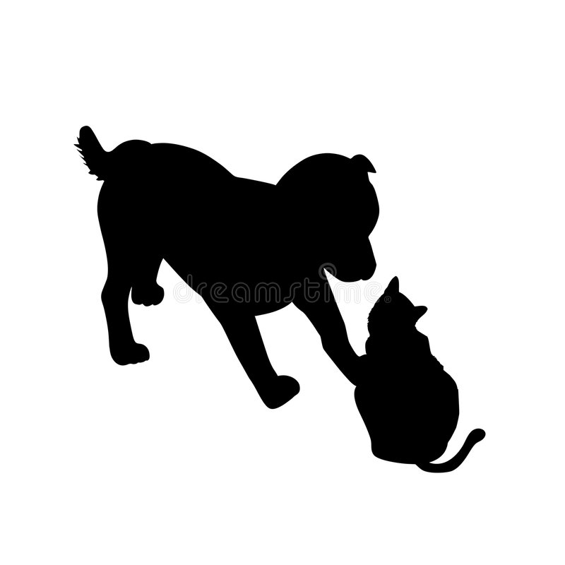 Cão e gato que jogam a silhueta ilustração stock