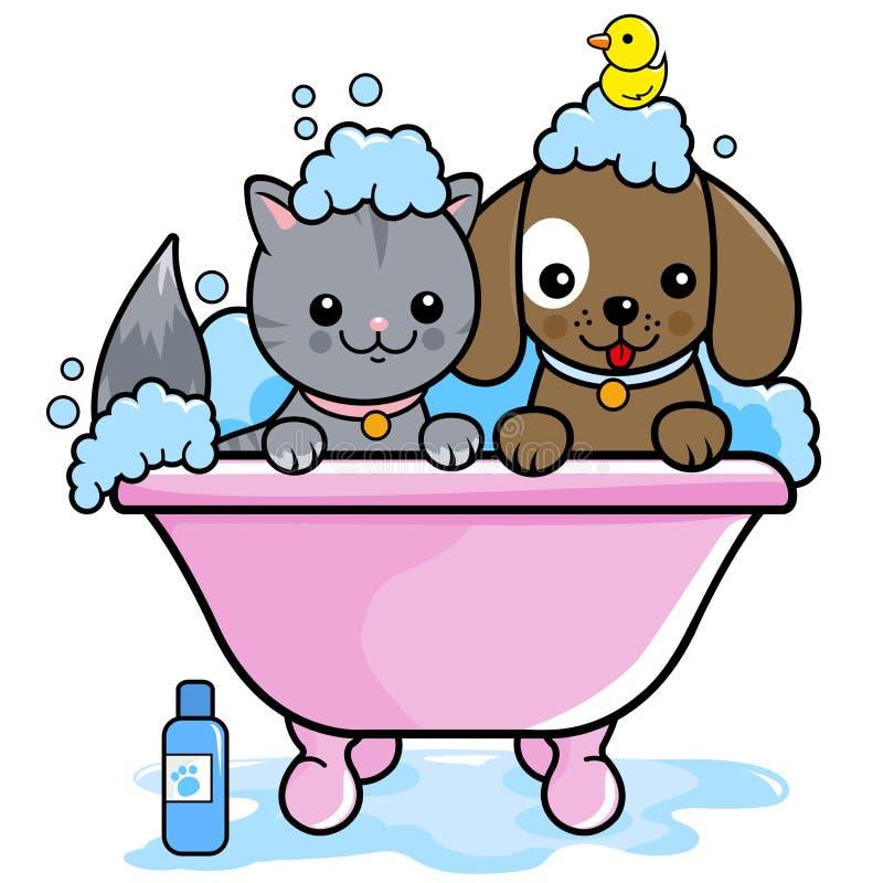 Cão e gato que toma um banho ilustração do vetor