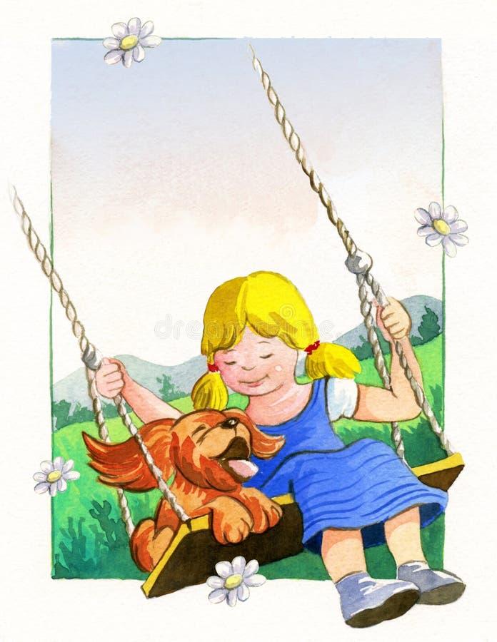 Cão e menina ilustração royalty free