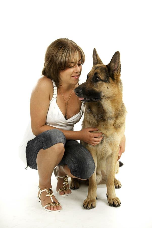 Download Cão e mulheres de pastor foto de stock. Imagem de obedient - 12813234