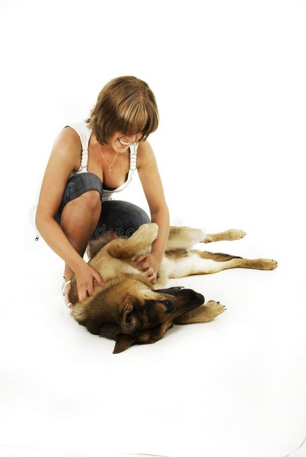 Download Cão e mulheres de pastor imagem de stock. Imagem de cute - 12813523