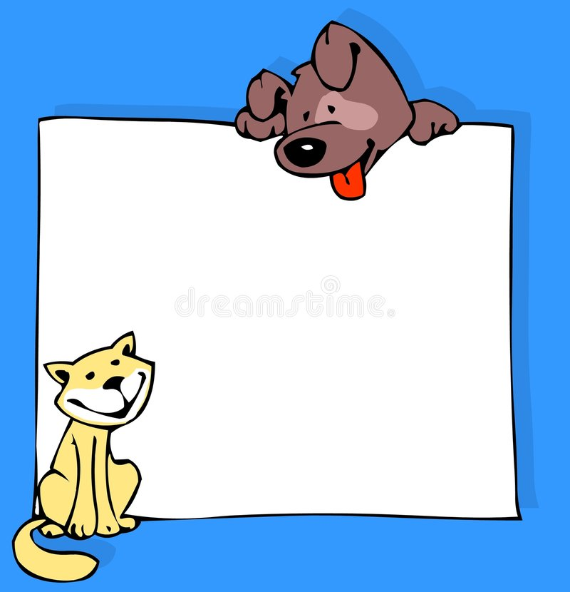 Cão e poster do gato na cor