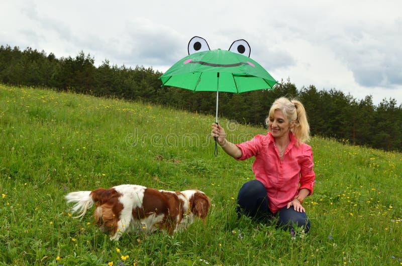 Cão e senhora sob o guarda-chuva fotos de stock