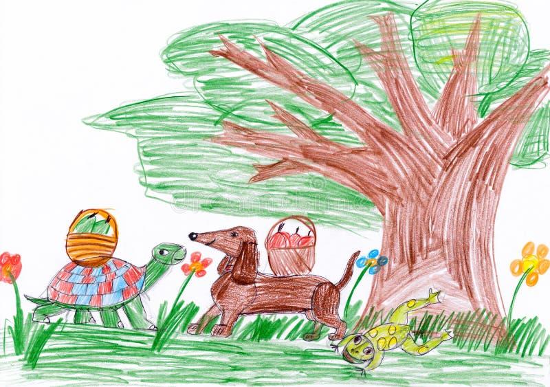 Cão e tartaruga no desenho da criança da floresta ilustração royalty free