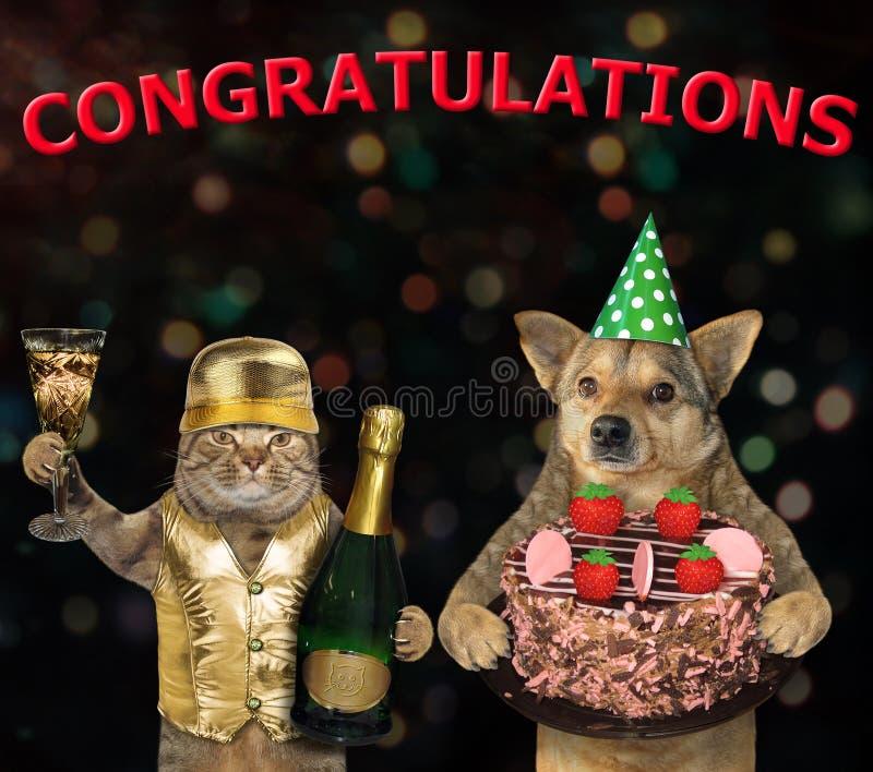 Cão e um gato com uma torta da morango fotografia de stock royalty free