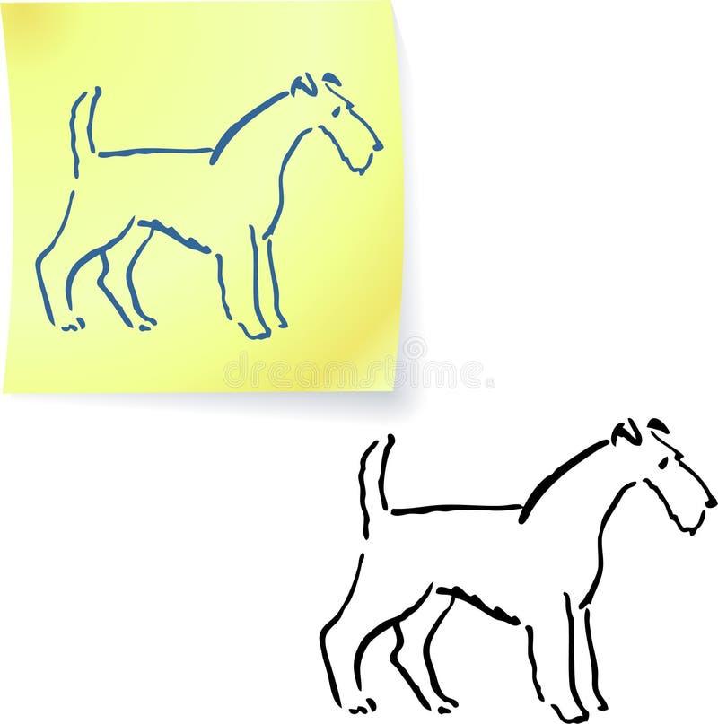 Cão em notas de post-it ilustração royalty free