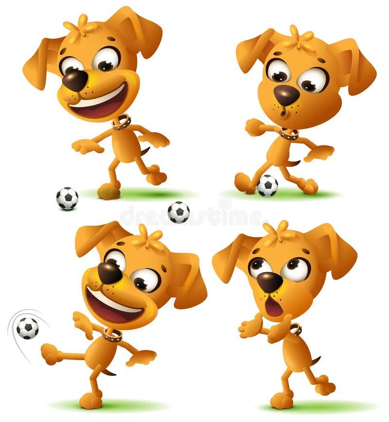 Cão engraçado amarelo ajustado que joga a bola de futebol ilustração stock