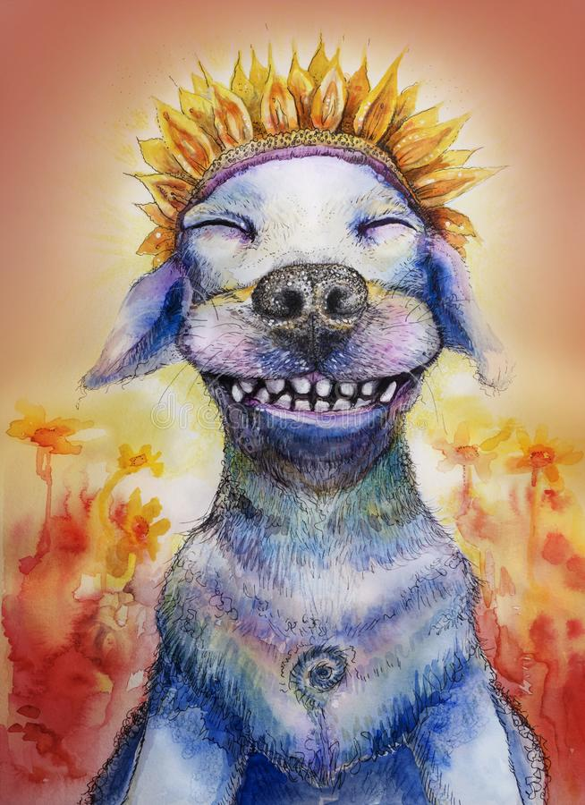 Cão engraçado de sorriso com a coroa da pétala da flor ilustração stock