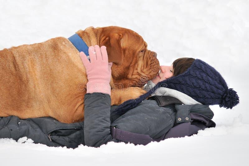 Cão enorme e seu mestre na neve fotografia de stock