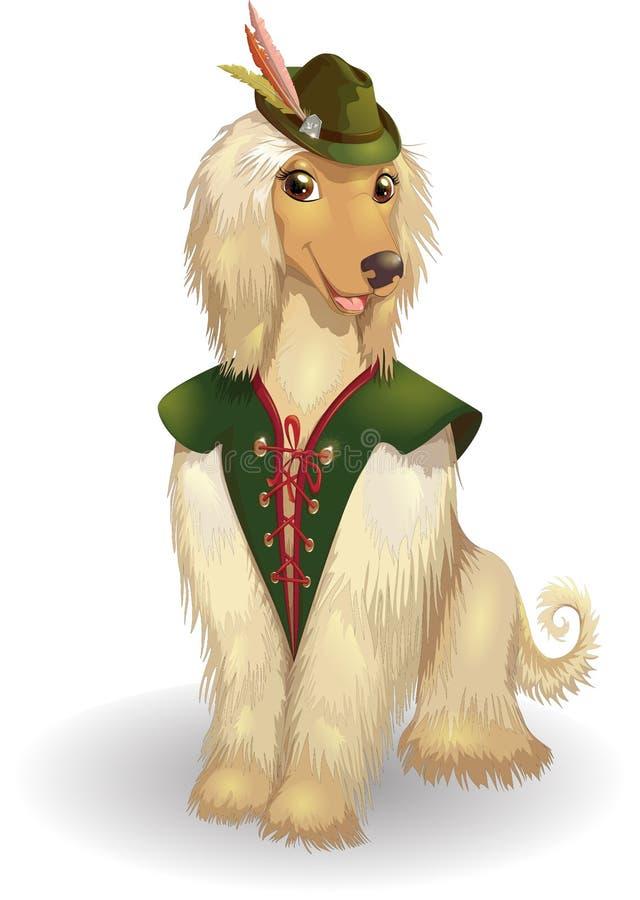 Cão feliz do borzói da ilustração do vetor do galgo afegão ilustração do vetor