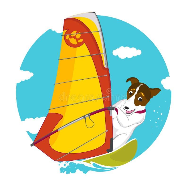 Cão feliz que surfa ilustração stock