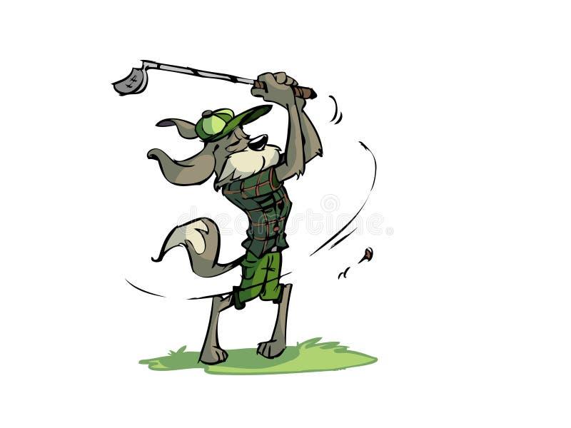 Cão Golfing ilustração do vetor