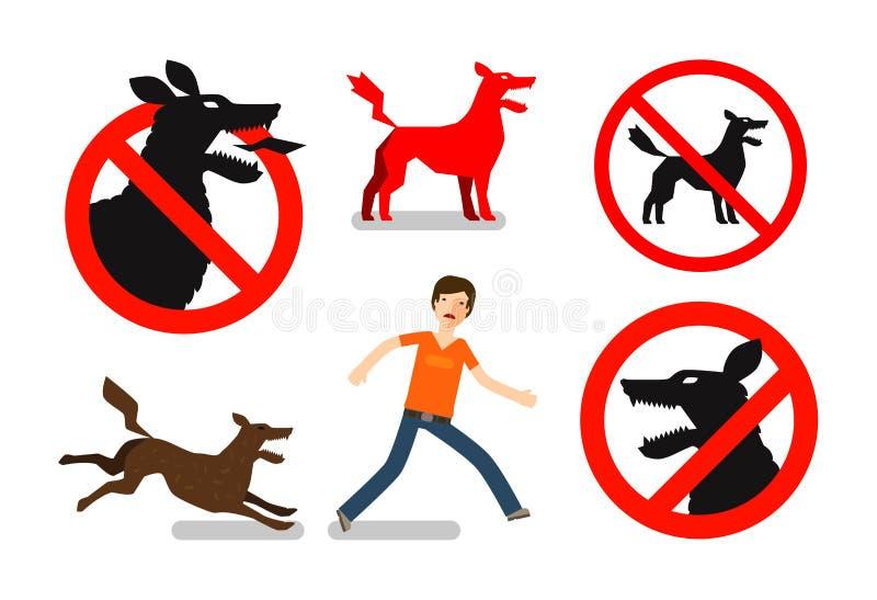 Cão irritado, louco Beware o sinal Os ícones do vetor ajustaram-se ilustração do vetor