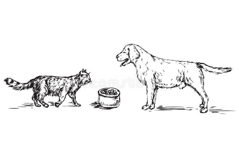 Cão Labrador e gato pelo contrário, entre eles bacia com alimento ilustração do vetor