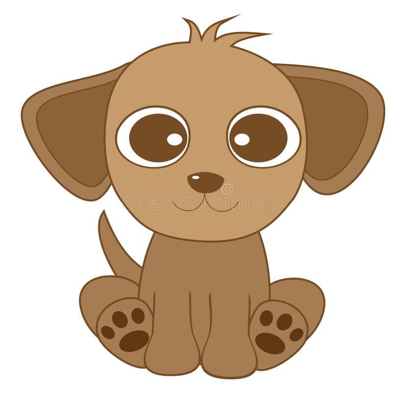 Cão marrom de vista bonito com olhos grandes e as orelhas grandes ilustração stock