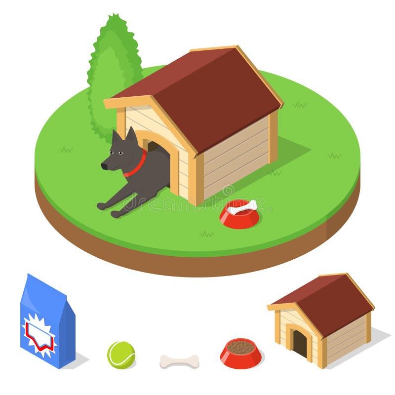 Cão na casa de cachorro ilustração royalty free