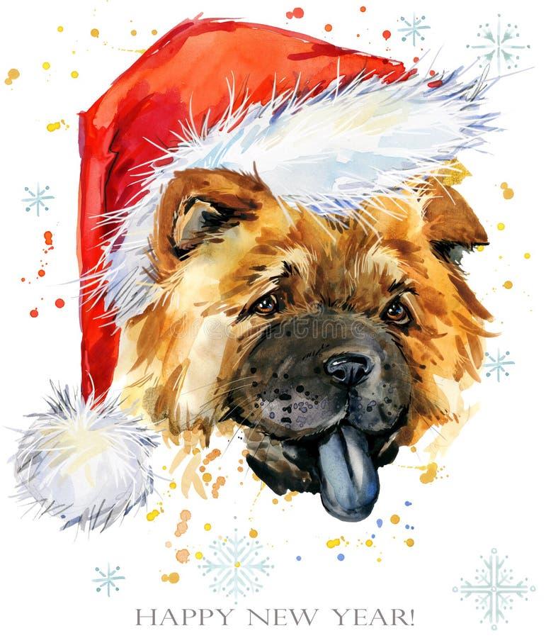 Cão na ilustração da aquarela do chapéu de Santa Cartão do ano novo feliz Projeto do molde do t-shirt do Natal ilustração royalty free