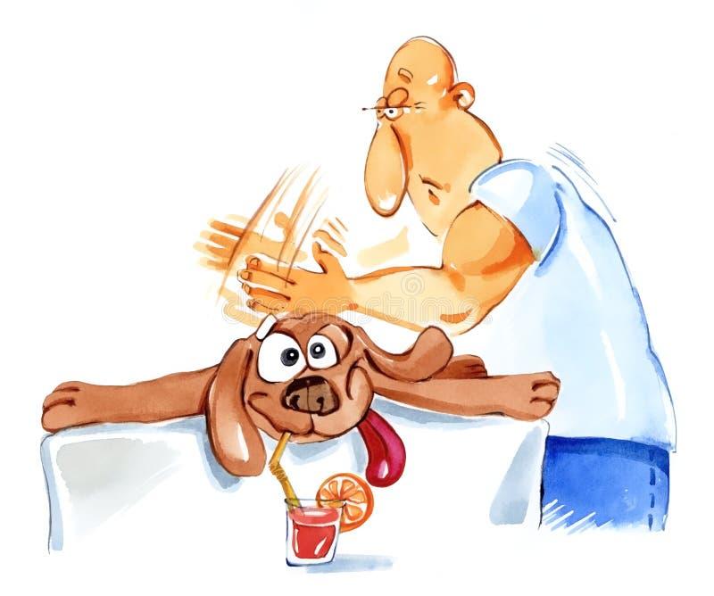 Cão na massagem ilustração stock