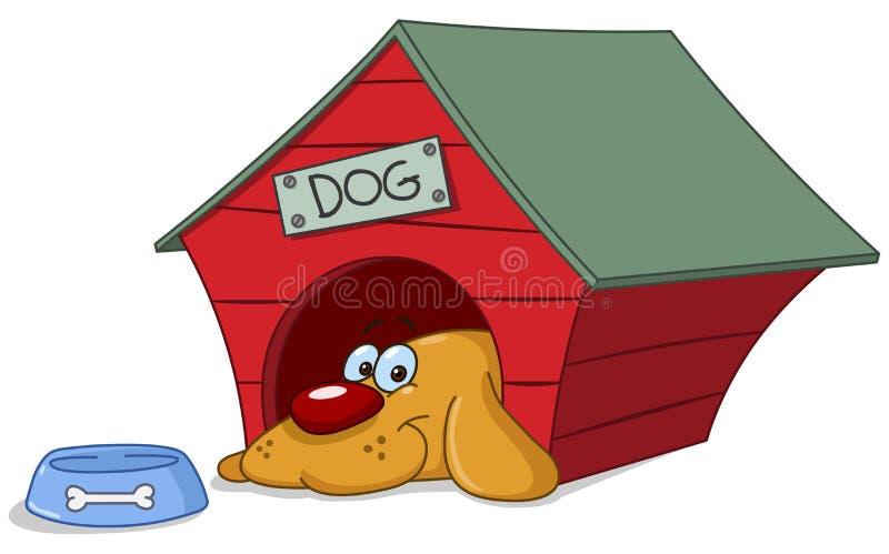 Cão no doghouse ilustração royalty free