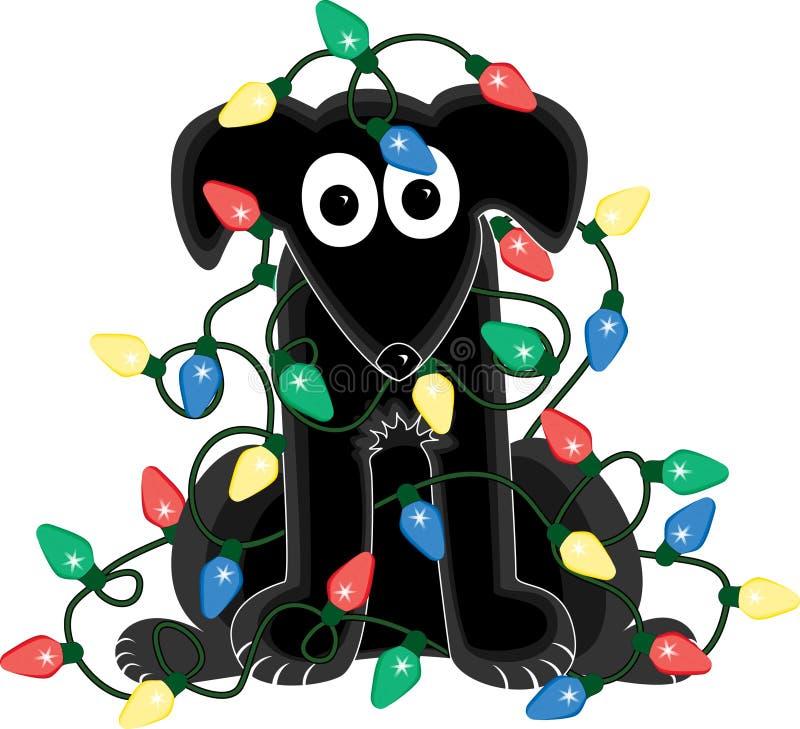 Cão no emaranhado da luz de Natal ilustração stock
