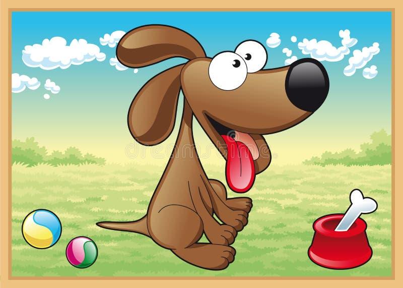 Cão no prado ilustração royalty free