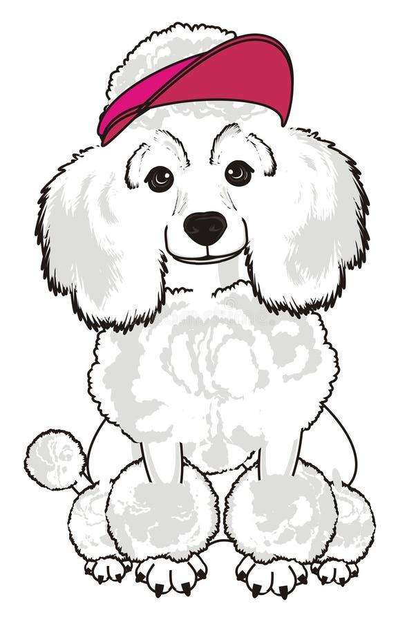 Cão no tampão cor-de-rosa ilustração stock